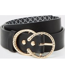 river island girls black double textured ring belt