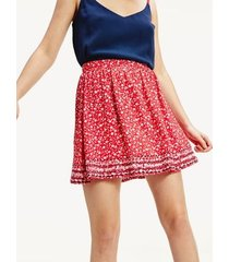 tommy hilfiger women's embroidered skirt floral print / deep crimson - xl