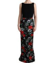 bloemenprint stretch schede lange jurk