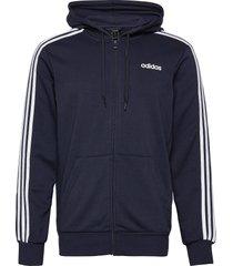 essentials 3-stripes track jacket hoodie trui blauw adidas performance