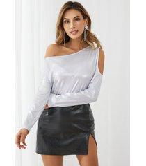 yoins brilho recorte one blusa de manga larga con hombros