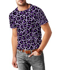leopard print bright purple mens cotton blend t-shirt