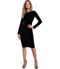 korte jurk moe m565 fluwelen kokerjurk - zwart