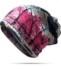 donna beanie e sciarpa in velluto pesante caldo stampato colorato berretto bonnet