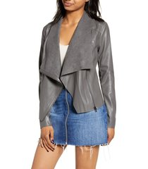 women's blanknyc onto the next faux leather drape front jacket, size x-small - grey