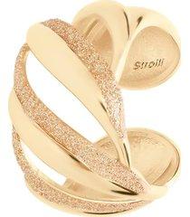 anello a fascia regolabile in ottone dorato e glitter per donna