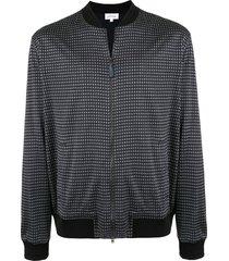 brioni geometric print silk bomber jacket - blue