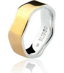 aliança mista ouro 18k e prata 925 natalia joias alm-190