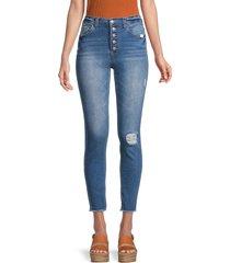 kensie women's distressed skinny jeans - blue - size 30 (10)