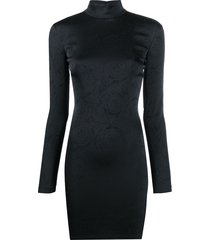 versace jeans couture embossed print long-sleeve mini dress - black