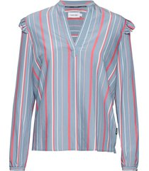 ls bold stripe frill blouse lange mouwen blauw calvin klein