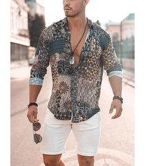 incerun manga larga delantera con botones estampados festivos para hombre camisa