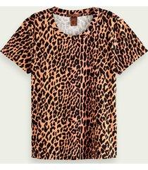 scotch & soda 100% katoenen t-shirt met dierenprint