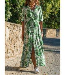 verde cinturón diseño tropical classic collar vestido