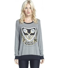 raina foil tennis pullover sweater with contrast - m grey black