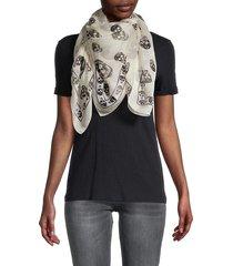alexander mcqueen women's classic skull silk scarf - ivory black