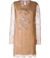 ash ruby lace embroidered dress - neutrals