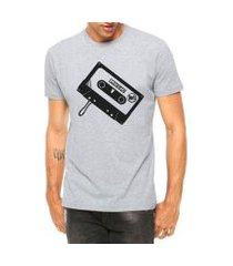 camiseta criativa urbana toca fita manga curta