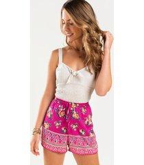 morgan front tie shorts - pink