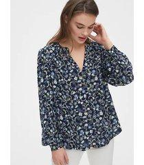 blusa gap poá azul-marinho
