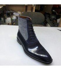 handmade men three toned boots men cap toe black navy and gray tweed laceup boot