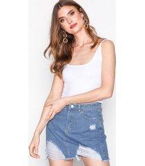 missguided ripped denim mini skirt minikjolar