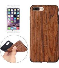 para iphone 8 plus y 7 plus pasta de madera del grano rojo sandalia piel suave tpu protector caso
