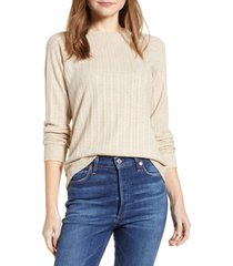 women's loveapella ribbed long sleeve top, size x-small - beige