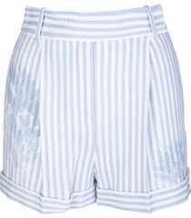 ermanno scervino woman white and light blue striped shorts