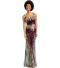 teeze me juniors' multi colored sequined evening gown