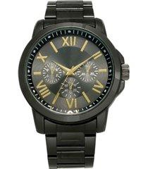 inc men's gunmetal gray bracelet watch 46mm, created for macy's