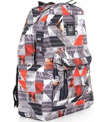 mochila style college cinza e vermelho - clio style - multicolorido - dafiti