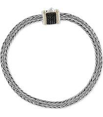 effy men's diamond pave woven bracelet in sterling silver & 18k gold (also in black diamond)