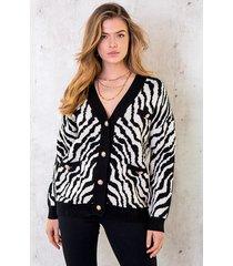 zebra vest met knopen zwart creme