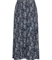 amaya raye skirt aop knälång kjol blå moss copenhagen