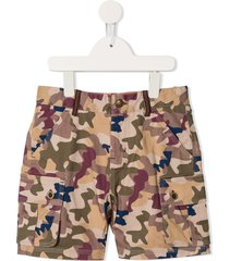 velveteen max camouflage cargo shorts - brown