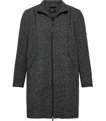 jacket texture plus zip melange wollen jas lange jas grijs zizzi