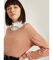 motivi maglia con catena di strass e pietre donna marrone