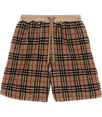 burberry vintage check faux shearling shorts - neutrals