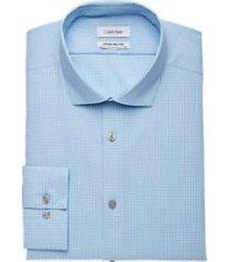 calvin klein infinite non-iron french blue mini check slim fit dress shirt