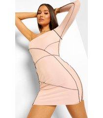 mesh mini jurk met eén blote schouder en naaddetail, nude