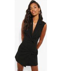 mouwloze blazer jurk met dubbele knopen, black