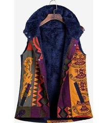 cappotto con tasche a bottone con gilet con cappuccio e stampa etnica