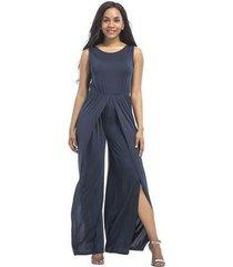 mono elegante para mujer de verano con cintura alta y mameluco con cinturón ropa azul nueva moda-azul