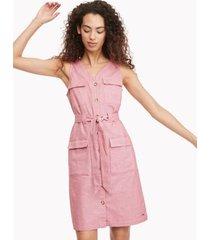 tommy hilfiger women's essential sleeveless dress crimson - l