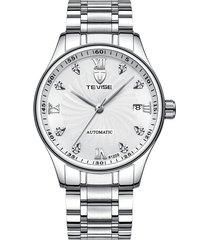 reloj, hoja de acero automática para hombres con-blanco