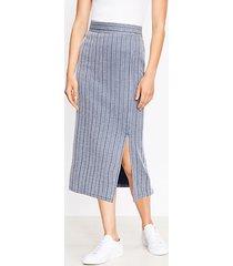 loft petite striped pull on slit skirt