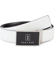 logo plaque leather belt
