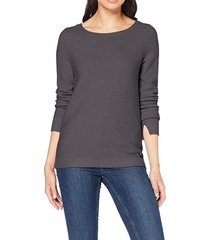 sweater básico con textura de canalé gris esprit