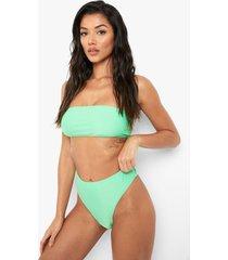 gerecycled hoog uitgesneden bikini broekje met hoge taille, green
